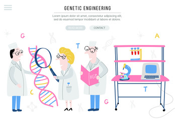 Scientist exploring DNA structure. Hand drawn genome sequencing concept made in vector. Banner for site.