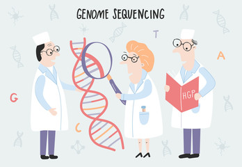 Scientist exploring DNA structure. Hand drawn genome sequencing concept made in vector. Human genome project