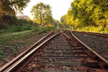 Bahnweiche im Morgenlicht