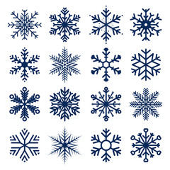 Vector snowflakes icons. Set of snowflakes texture