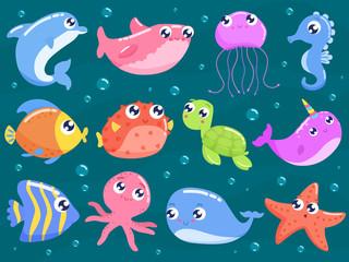 Cute sea animals set