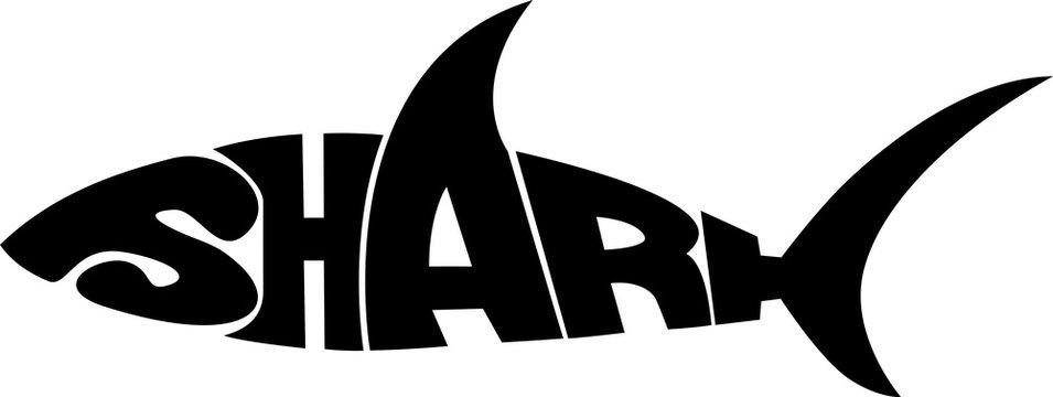 stylized word in shape of shark