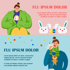 Flu girl banners design. Cartoon character woman is sick vector banners