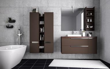 Aufgeräumtes Badezimmer mit Betonwand