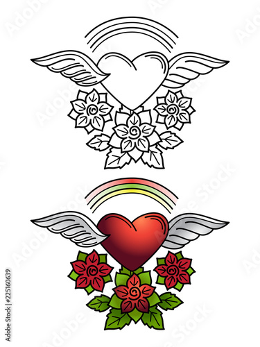 Rainbow Heart Floral Ornament Tattoo Design Line With Wings And Flowers Coloring