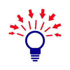 Abstract light bulb silhouette, idea for design on white background,