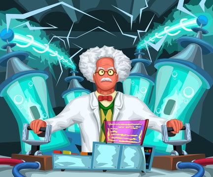 crazy scientist at work