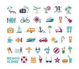 Set of flat beach icons. Vector illustration