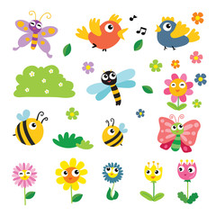 insect and flower vector collection design