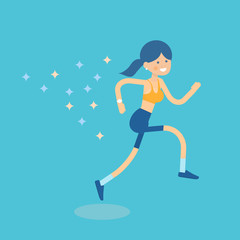 Beautiful woman vector illustration of female character running