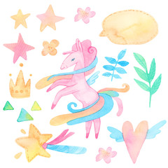 cartoon watercolor illustration. baby cute set. template for fantasy, children's invitations. unicorns, stars, magic, heart, leaves, plant. isolated on white background