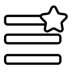 Humburger menu favorites line icon. Menu sign with a star vector illustration isolated on white. Navigation glyph style design, designed for web and app. Eps 10.