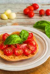 Bruschetta with fresh tomato, basil and garlic.