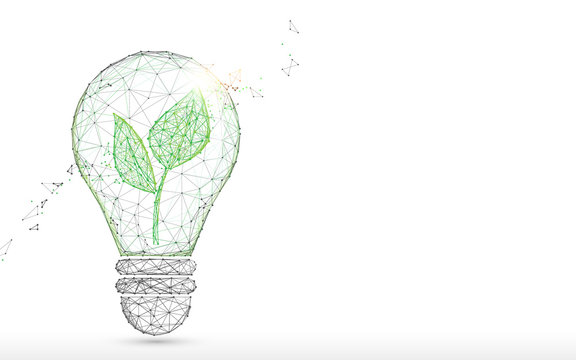Light Bulb with green plant form lines, triangles and particle style design. Illustration vector