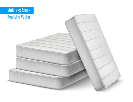 Mattress Stack Realistic Composition
