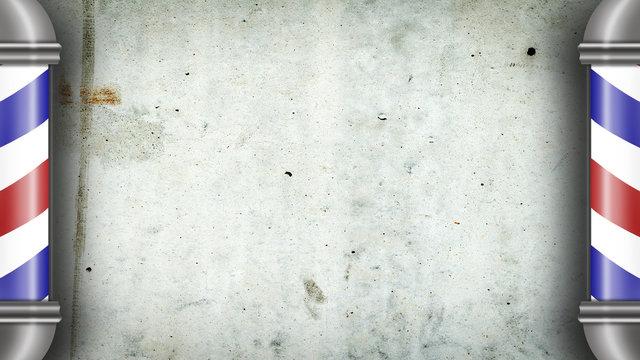 Barber pole against a gray concrete wall. Copy space. Concept Barber Shop.