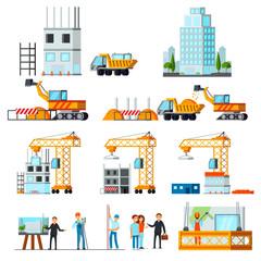 Sky Scraper Construction Flat Set