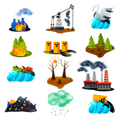 Ecological Problems Flat Icons