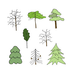 Icon trees. Liner  illustration on white
