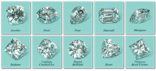 Ten the most popular diamond shapes with labels on tiffany blue background. 3D rendering