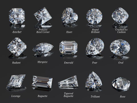 Fifteen diamonds of the mot popular shapes with labels on black glossy background. 3D rendering