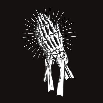 Vector illustration - Praying skeleton hands. vector illustration