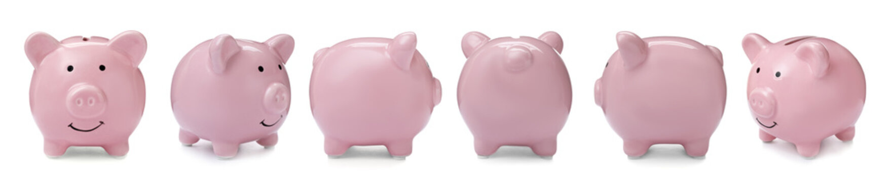 Set with pink piggy bank from different views on white background