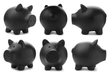Set with black piggy bank from different views on white background
