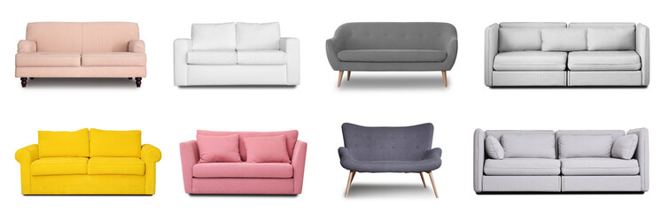 Set with different comfortable sofas on white background. Furniture for modern room interior