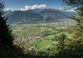 Wall Mural - view from above of Jenins village and Rhine Valley in Switzerland