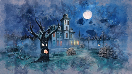 Watercolor sketch of old scary haunted mansion among fantastic creepy trees at misty night with big full moon in the sky. Gloomy grunge style digital illustration.