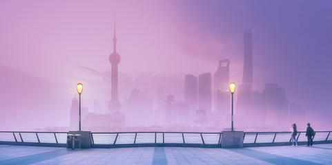View of Shanghai skyline with mist, China