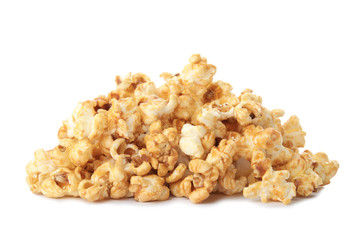 Pile of delicious caramel popcorn on white background