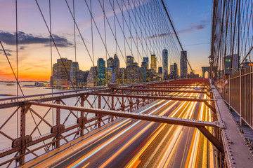 New York City financial district cityscape from the Brooklyn Bridge