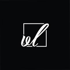 Initial letter VL LV minimalist art monogram shape logo, white color on black background