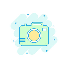 Cartoon colored photo camera icon in comic style. Photographer cam illustration pictogram. Camera sign splash business concept.