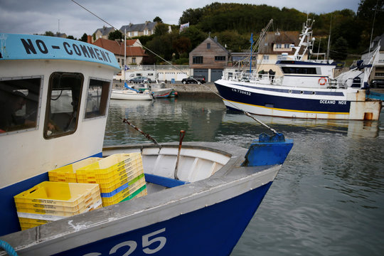 The French trawler No Comment is seen in the harbour of Port-en-Bessin on the eve of the start of the scallop fishing season
