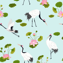 Seamless Pattern with Cranes, Lotus Flowers and Leaves, Retro Tropical Floral Background for Fashion Print, Birthday Decoration Wallpaper. Vector Illustration