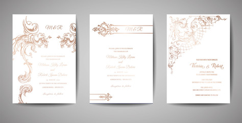 Set of Luxury Vintage Wedding Save the Date, Invitation Cards Collection with Gold Foil Frame and Wreath. Vector trendy cover, graphic poster, retro brochure, design template