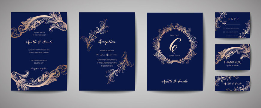 Luxury Vintage Wedding Save the Date, Invitation Navy Cards Collection with Gold Foil Frame and Wreath. Vector trendy cover, graphic poster, retro brochure, design template