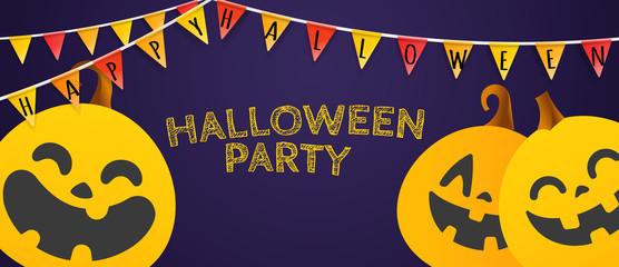Happy Halloween garlands on dark background. Halloween party invitation vector layout
