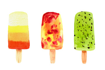 Set of colorful frozen juice popsicles in pink, green, orange colors isolated on white background.