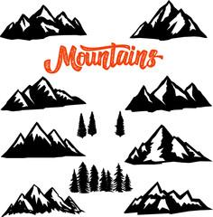 Set of mountain peaks illustrations on white background. Design element for logo, label, emblem, sign.
