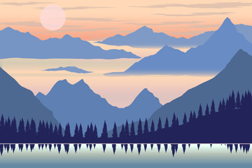 Illustration of mountain landscape in flat style. Design element for poster, flyer, presentation, brochure.