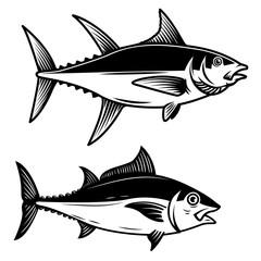 Set of Tuna fish illustration on white background. Design element for logo, label, emblem, sign, badge.