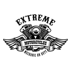 Emblem template with winged motorcycle motor. Design element for poster, logo, label, sign, t shirt.