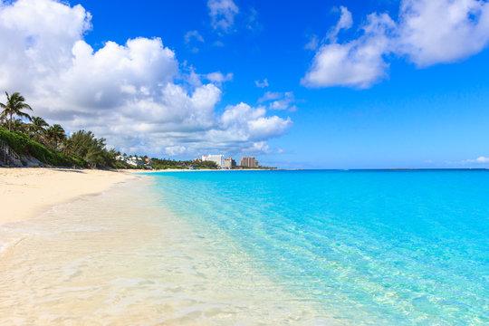 Public Paradise beach in Nassau, Bahamas.