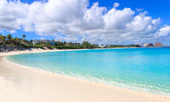 turquoise water of caribbean sea in Nassau, Bahamas