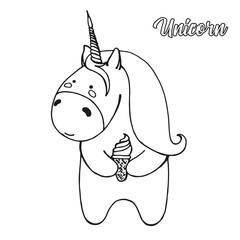 Sketch unicorn with ice cream isolated on white background. Vector illustration