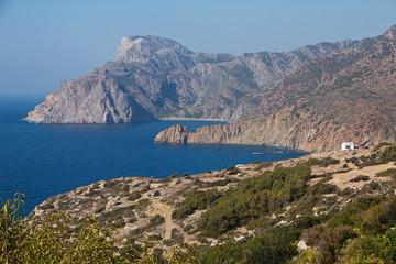 Coastline at Mesochori on Karpathos in Greece